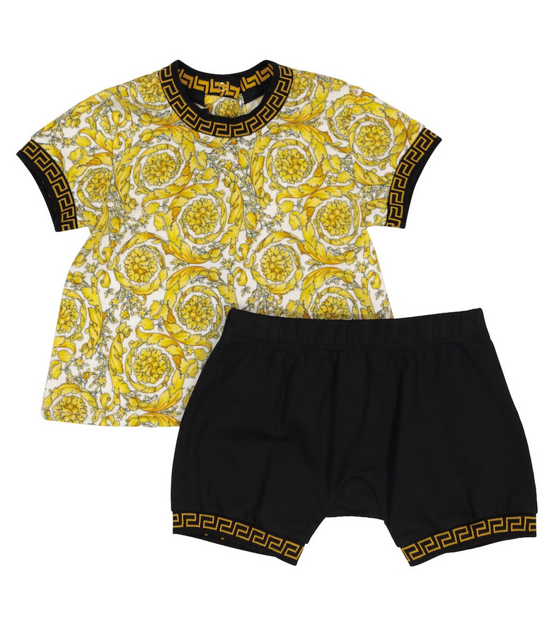 Versace Kids Baby Acanthus stretch-cotton T-shirt and shorts set in gold