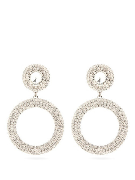 Alessandra Rich - Crystal Circular Drop Clip Earrings - Womens - Crystal
