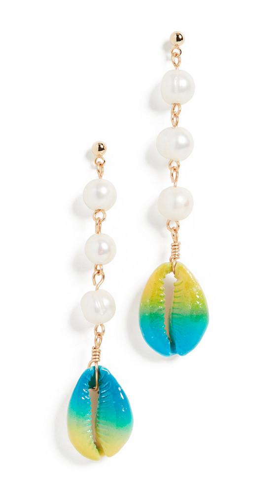 Venessa Arizaga Moonlight Beach Earrings in blue / yellow