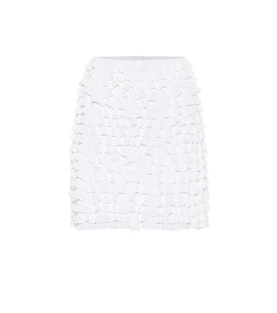 Alaïa Ruffled high-rise miniskirt in white