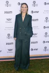 jacket,blazer,green,green jacket,wide-leg pants,olivia wilde,celebrity,suit