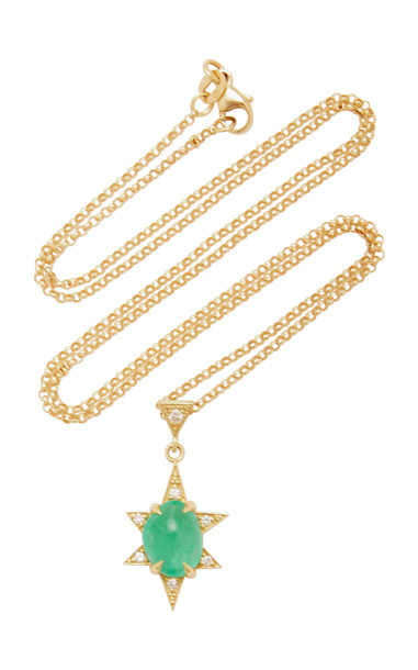 M.Spalten 18K Gold, Emerald And Diamond Necklace in green