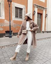 coat,teddy bear coat,joggers,hoodie,crossbody bag