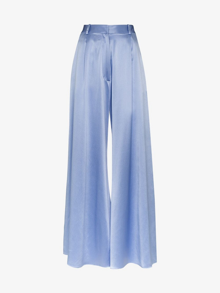 Michael Lo Sordo high-waisted wide leg silk trousers in blue