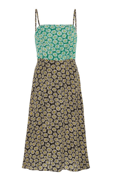 HVN Nora Floral-Print Silk Crepe De Chine Dress Size: 4