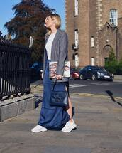 jacket,blazer,stripes,white sneakers,blue skirt,maxi skirt,slit skirt,blue bag,white t-shirt