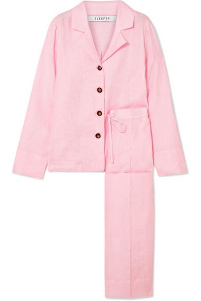 Sleeper - Linen-gauze Pajama Set - Pink