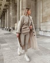 sweater,knitted sweater,lace up,skinny pants,oversized coat,crossbody bag