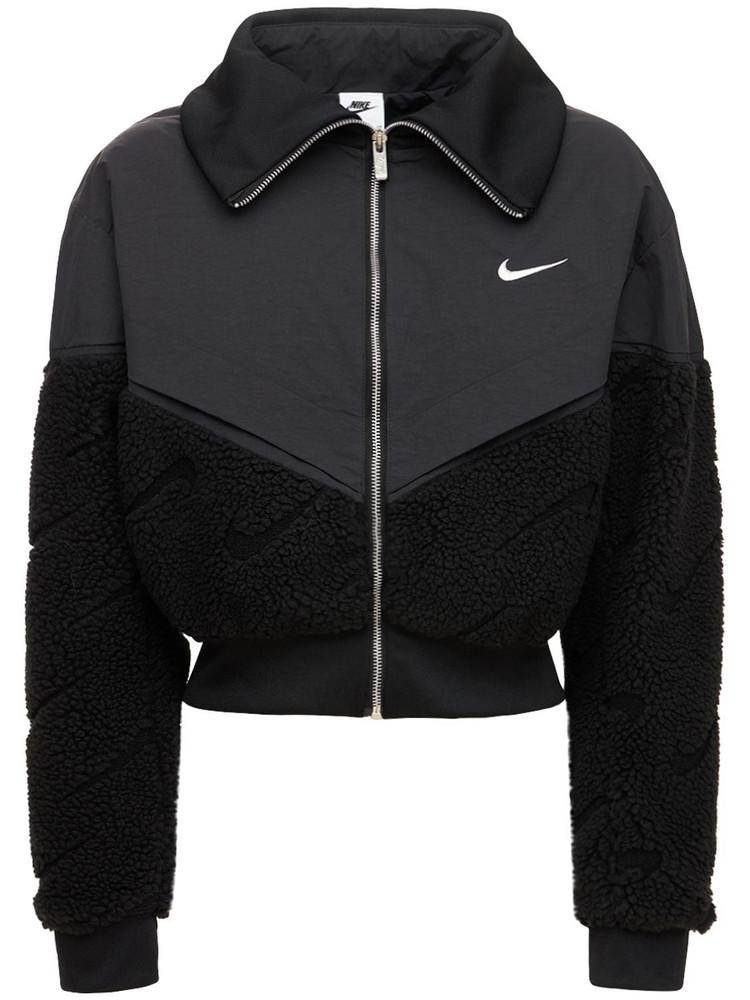NIKE Icon Clash Cropped Nylon Jacket in black