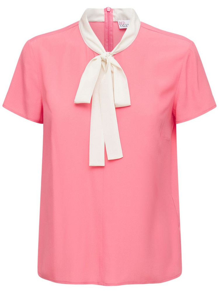 RED VALENTINO Crepe De Chine Shirt W/ Bow Collar in ivory / pink