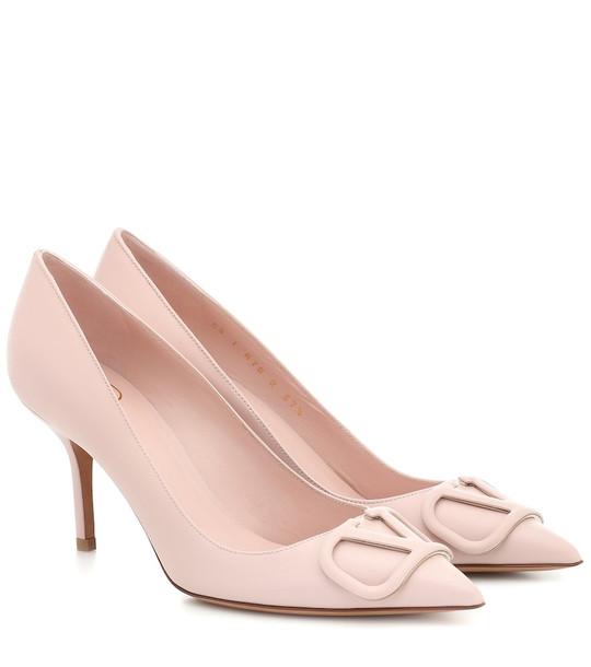 Valentino Garavani VLOGO leather pumps in pink