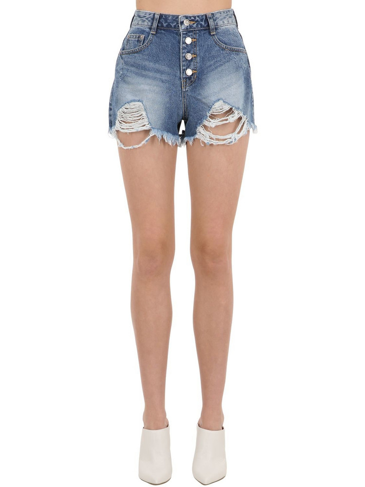 SJYP Destroyed Cotton Denim Shorts in blue