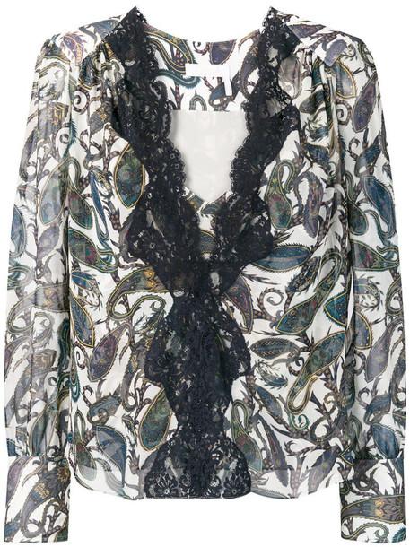 Chloé lace trim blouse in blue