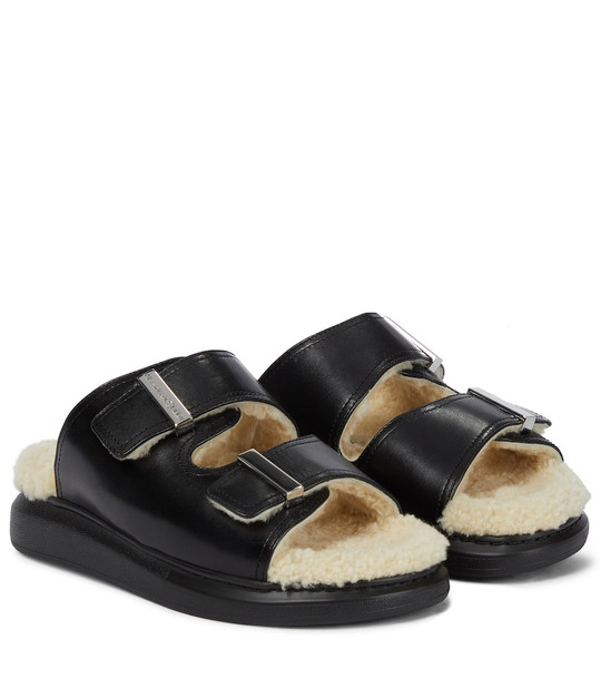 Alexander McQueen Shearling-trimmed leather sandals in black