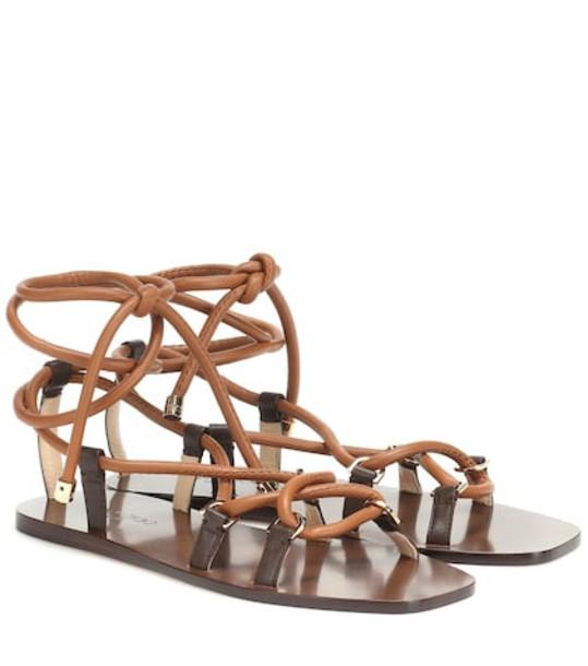 Jimmy Choo Aziza Flat leather sandals in brown