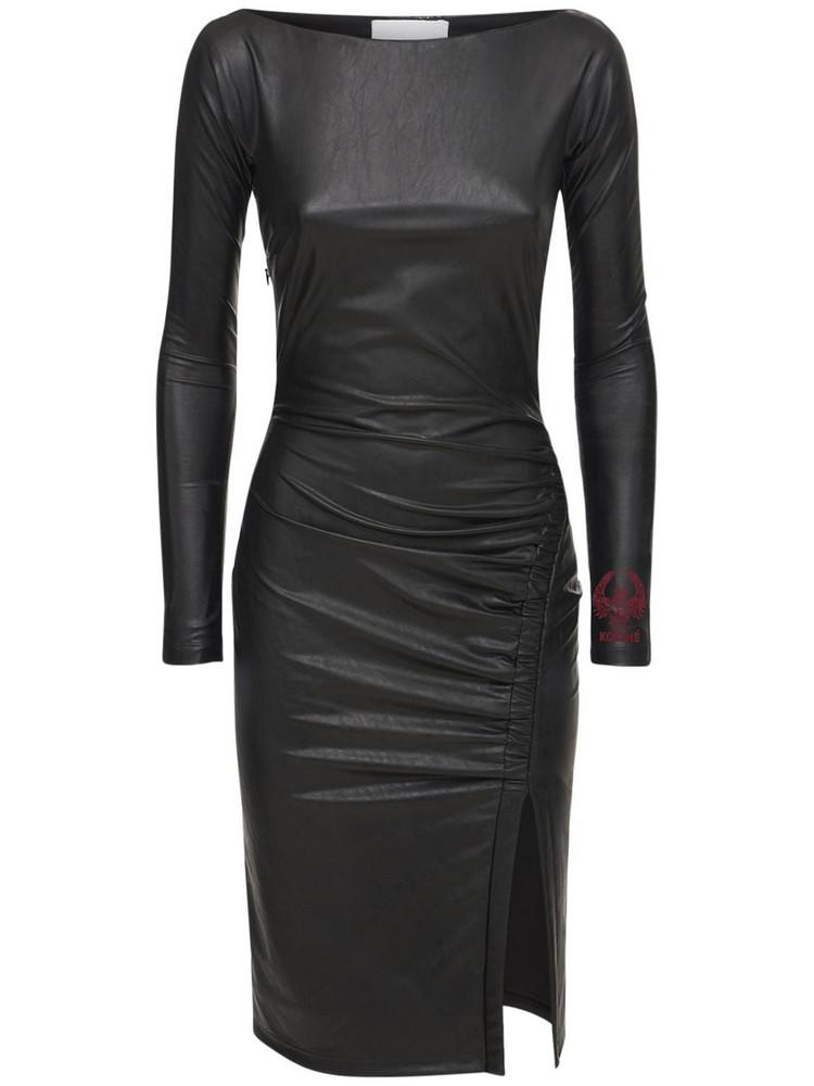 KOCHE' Faux Leather Midi Dress W/slit in black