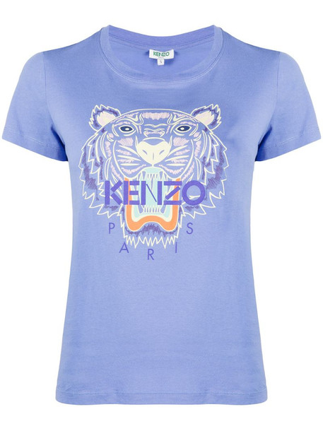 Kenzo Tiger-embroidered logo T-shirt in blue