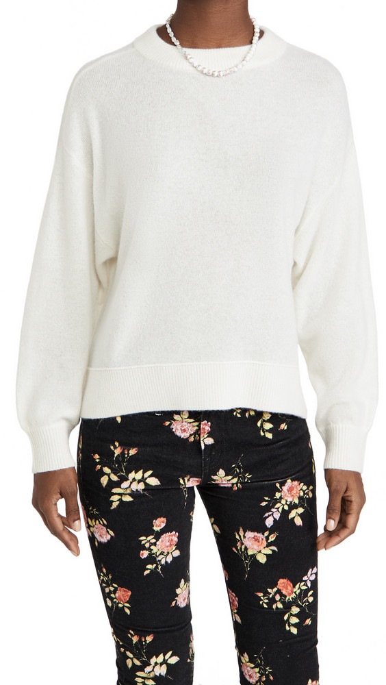 alice + olivia alice + olivia Denver Round Hem Cashmere Sweater in white