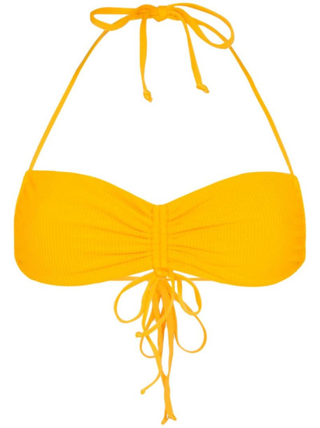 Frankies Bikinis Ruby ruched bikini top in yellow