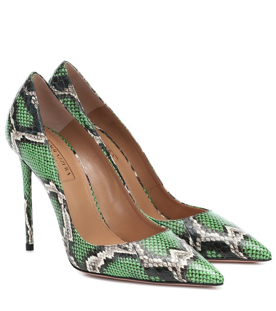 Aquazzura Purist 105 leather pumps in green