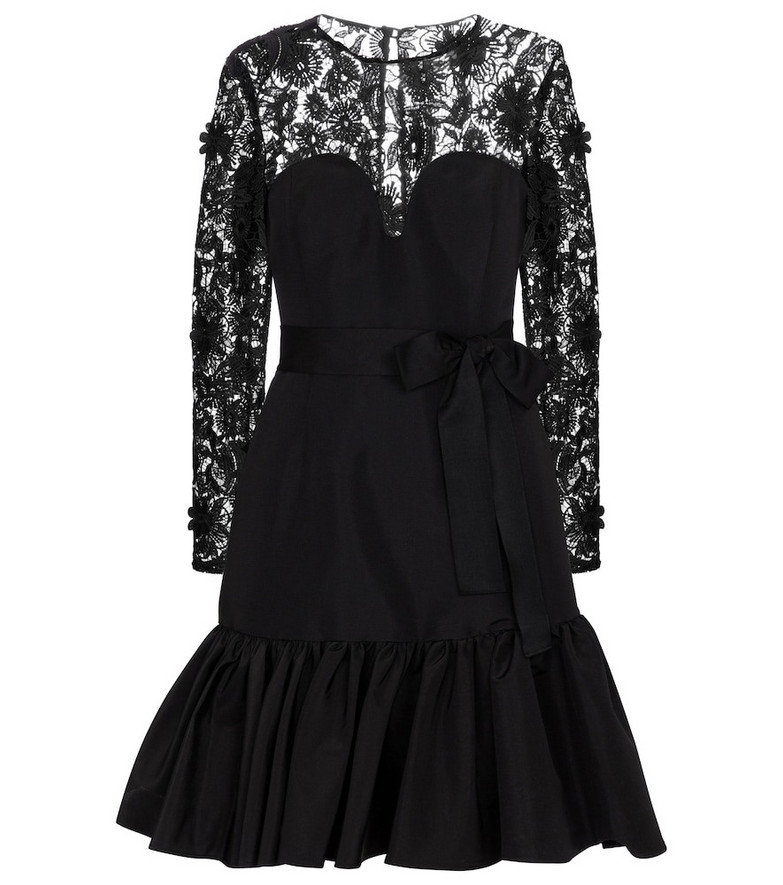 Carolina Herrera Lace-trimmed silk taffeta minidress in black