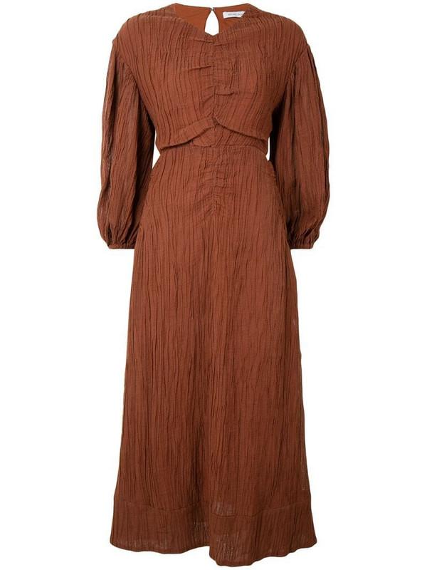 Rachel Gilbert Sorrell crinkle midi dress in brown