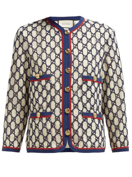 jacket embroidered mesh white cotton