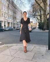 dress,black dress,midi dress,short sleeve dress,ankle boots,brown boots