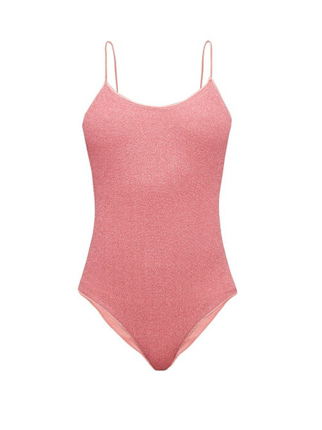 Oseree - Lumière Metallic Scoop Back Swimsuit - Womens - Pink