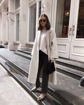 coat,oversized coat,long coat,flats,ballet flats,balenciaga,straight jeans,grey jeans,high waisted jeans,black bag,grey sweater
