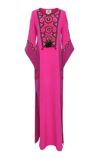 Figue Noona Embroidered Silk Maxi Dress in pink