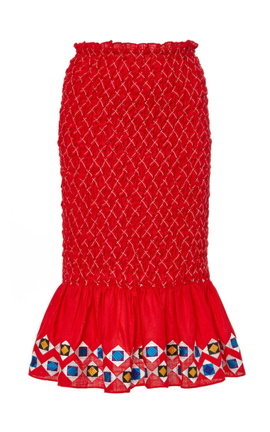 Alexis Solomon Smocked Cotton-Linen Knee-Length Skirt Size: M in red