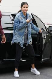 jacket,selena gomez,celebrity,sweatpants,top,casual,denim jacket