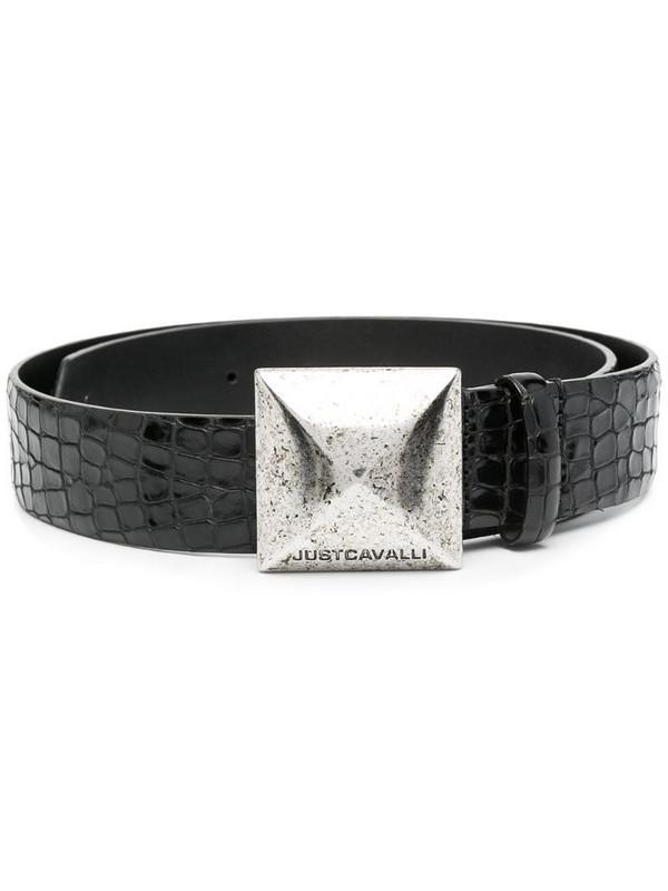 Just Cavalli croc-effect belt in black