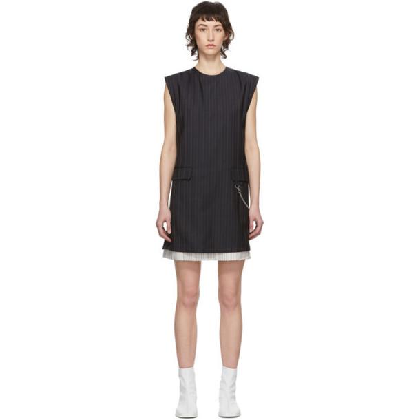 Acne Studios Navy Wool Pinstripe Donielle Dress
