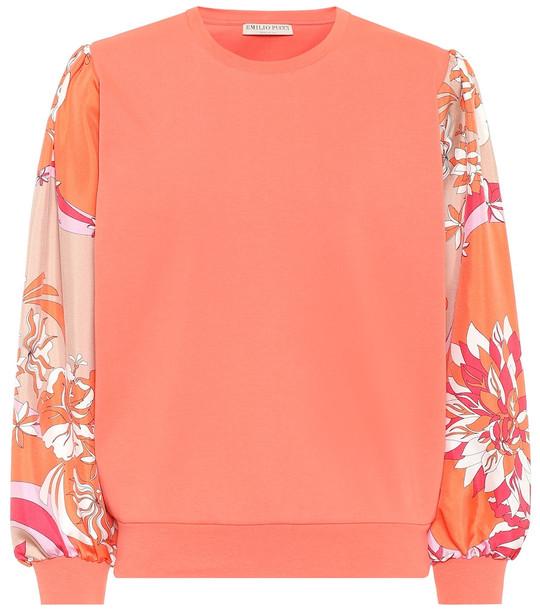 Emilio Pucci Silk-trimmed cotton sweatshirt in orange
