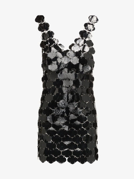 Paco Rabanne sequin disc mini dress in black