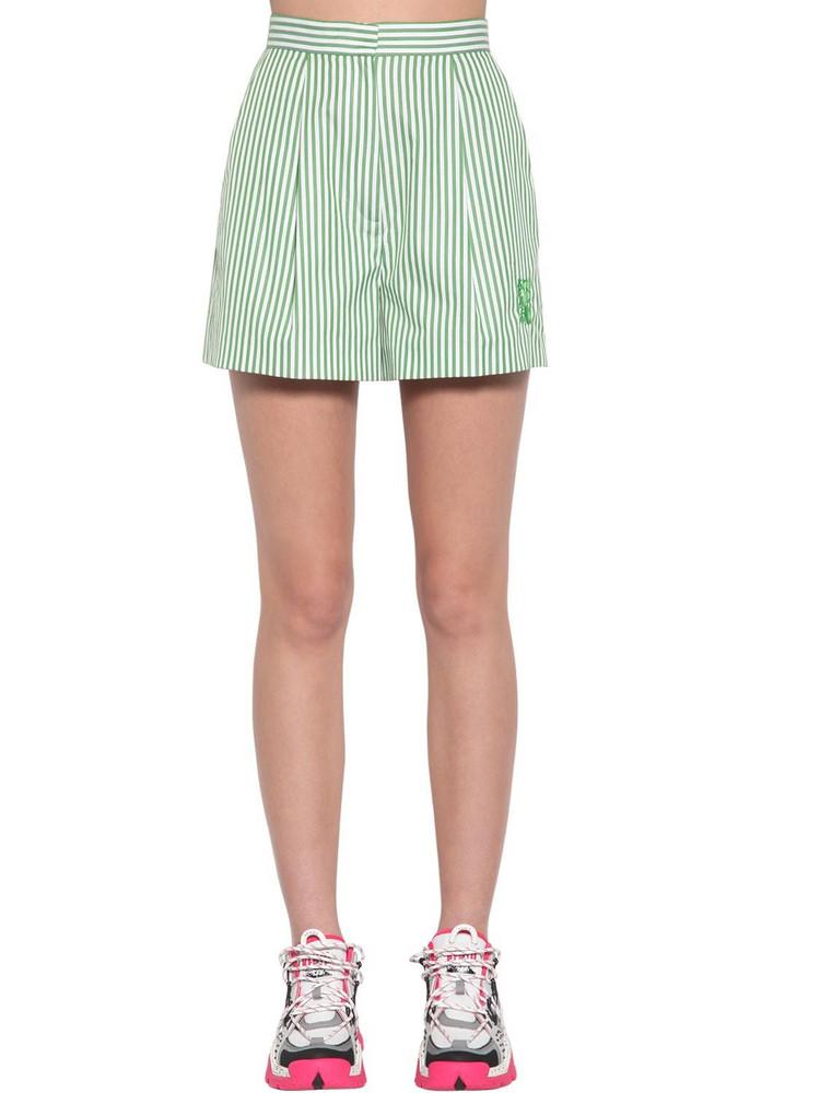 KENZO Striped Cotton Poplin Shorts in green / white