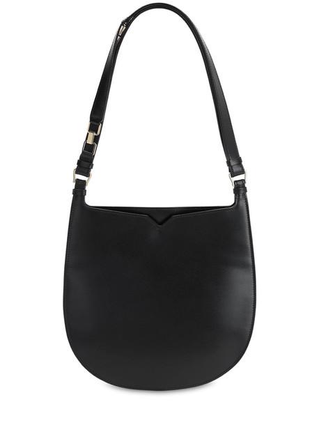 VALEXTRA Hobo Suede & Leather Shoulder Bag in nero