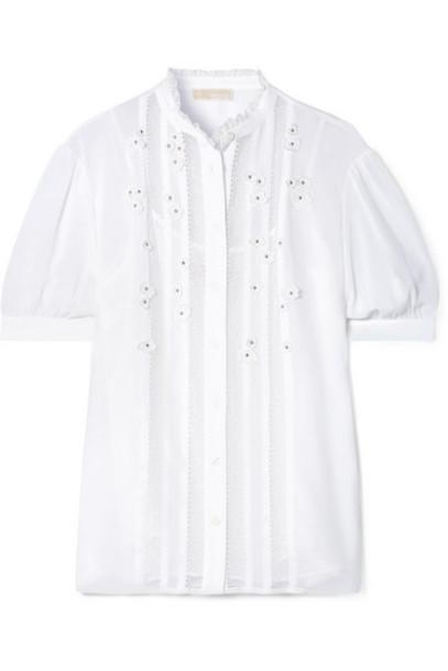MICHAEL Michael Kors - Lace-trimmed Appliquéd Georgette Top - White