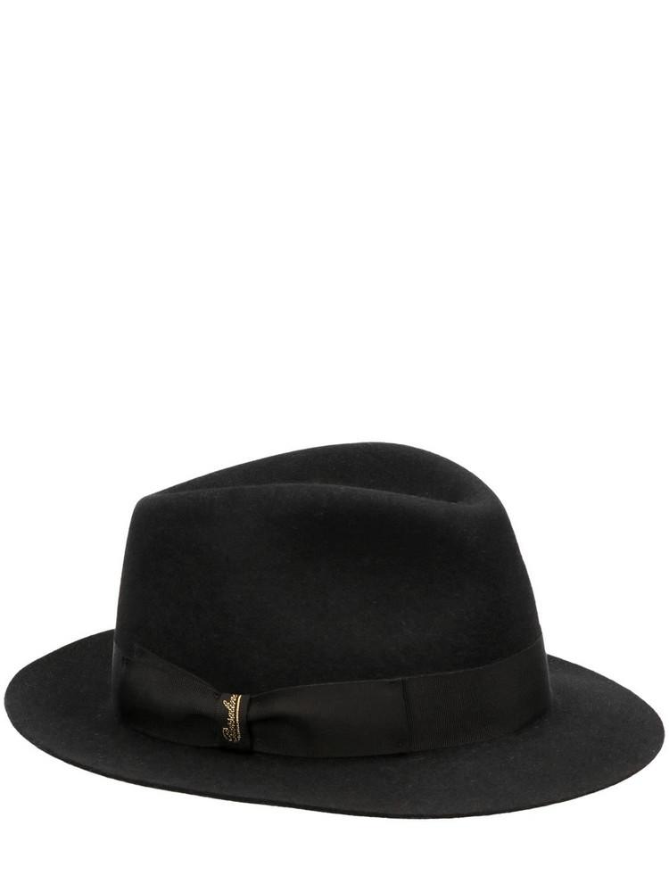 BORSALINO Brushed Felt Fedora Hat in black
