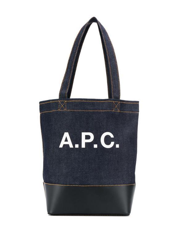 A.P.C. logo print denim tote in blue