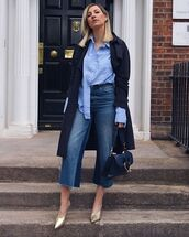 jeans,cropped jeans,wide-leg pants,high waisted jeans,mules,bag,navy coat,blue shirt,stripes
