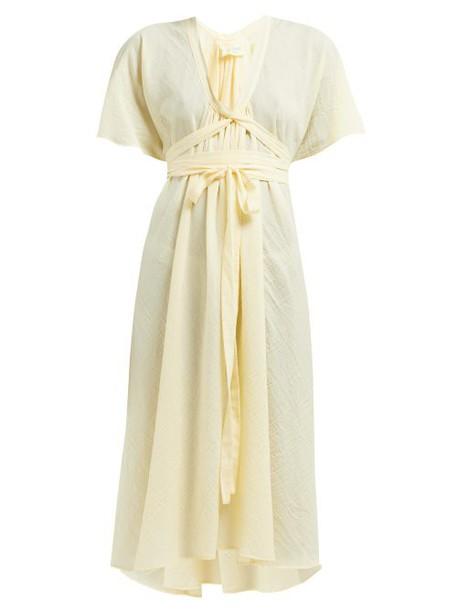 Loup Charmant - Nautilus Organic Cotton Voile Midi Dress - Womens - Yellow
