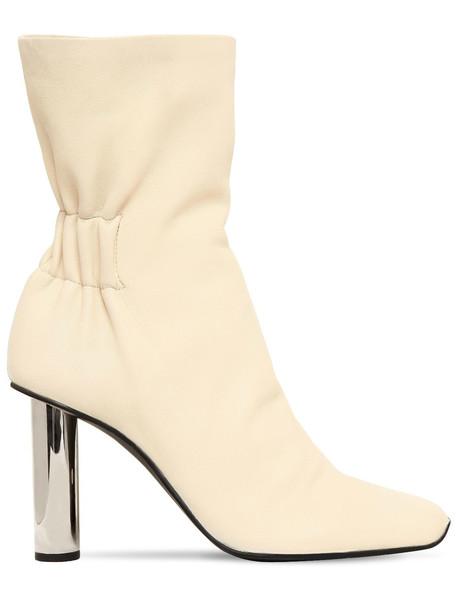 PROENZA SCHOULER 100mm Leather Ankle Boots W/ Metal Heel in beige