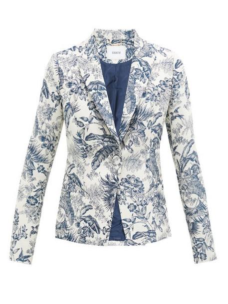 Erdem - Iris Toile-de-jouy Single-breasted Jacquard Jacket - Womens - Cream Navy