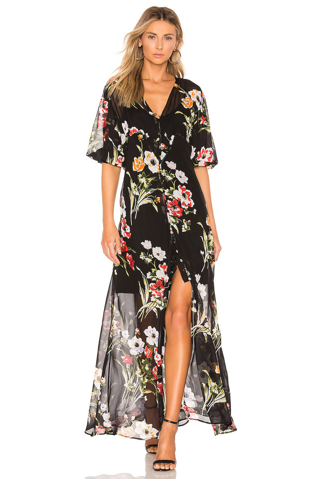 Olivia von Halle Delphine Silk Button Down Dress in black