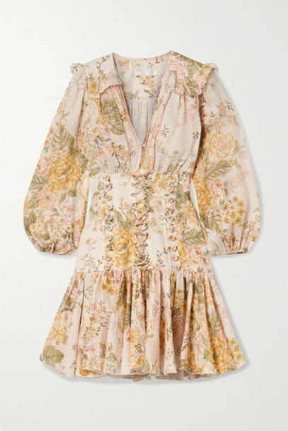 Zimmermann - Amelie Lace-up Ruffled Floral-print Linen Mini Dress - Peach