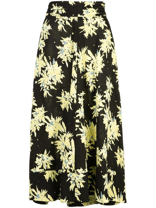 Proenza Schouler Splatter Floral Seamed Skirt in black