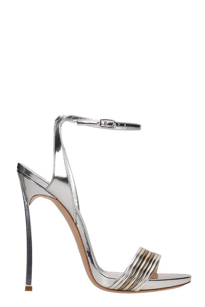 Casadei Silver Leather Blade Sandals